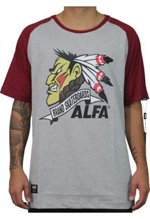 Camiseta Alfa Raglan Indio Bordo