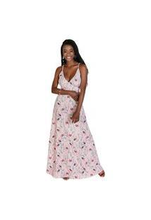 Vestido Moda Pop Longo Alças Transpassado Borboleta Rosa