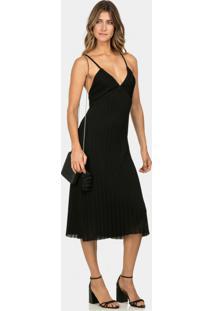 Vestido Com Alças Mídi Tricô Preto Reativo - Lez A Lez