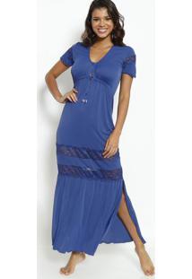 Camisola Longa Com Botões Com Lycra®- Azul Marinhofruit De La Passion