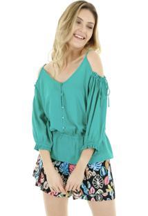 Blusa Ombro Vazado Lisa Com Elã¡Stico Na Cintura - Verde - Feminino - Dafiti
