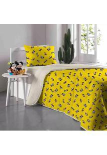 Edredom Solteiro Portallar Disney Doce Vida Mickey 90 Anos Em Malha Amarelo