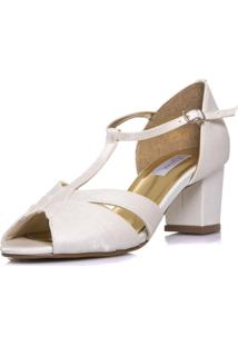Sandália Durval Calçados Noiva Vintage Salto Baixo Confortável - 3489 Off White