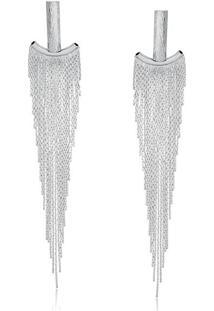 Brinco De Franjas Com Design Âncora Folheado Em Ródio Branco - 2180000000527
