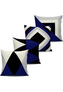 Kit 4 Capas Almofada Geometrica Azul Marinho E Preto 45X45Cm - Tricae