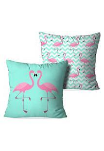 Kit 2 Capas Para Almofadas Decorativas Love Decor Flamingos Love