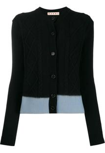 Marni Cardigan De Tricô Color Block - Preto