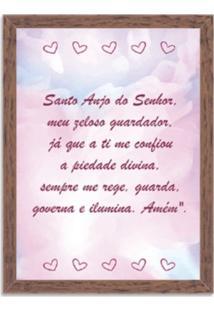 Quadro Decorativo Infantil Oração Santo Anjo Madeira - Médio