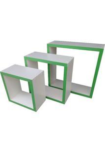 Nicho Cubo Prateleira Em Mdf Branco E Borda Verde Kit C/3