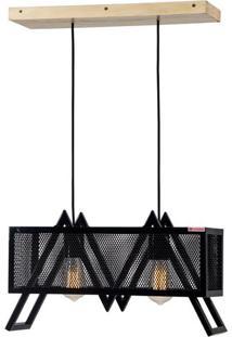 Luminaria Pendente Chaper Caixa Multilaminada Cor Preto 50Cm (Larg) - 54136 Sun House