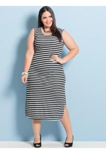 Vestido Midi Marguerite Listrado Plus Size