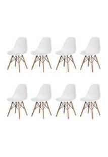 Kit 8 Cadeiras Charles Eames Eiffel Branca Base Madeira Sala Cozinha Jantar