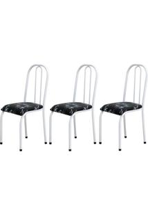 Cadeira Assento Anatomico 3 Peças 00104 Branco Preto Floral Archeli