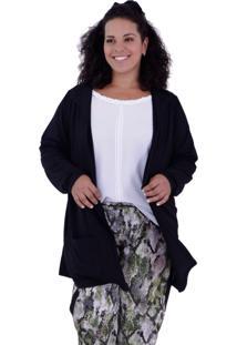 Cardigan Júlia Black Plus Size Vickttoria Vick Plus Size Preto