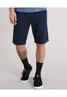Bermuda Masculina Com Cordão E Bolsos Azul Marinho