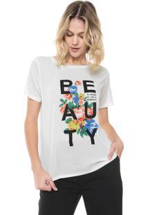 Camiseta Ana Hickmann Estampada Beauty Off-White