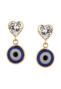 Brinco Olho Grego Celeste Coração Em Ouro 18K - Unissex-Azul