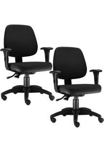 Kit Cadeiras Giratória Lyam Decor Job Preto - Tricae