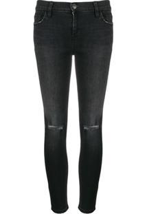 Current/Elliott Calça Jeans Skinny Cintura Média Com Efeito Destroyed - Preto