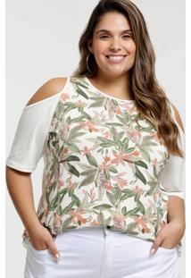 Blusa Feminina Open Shoulder Floral Plus Size Manga Curta