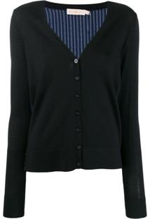 Tory Burch Silk Back Cardigan - Azul