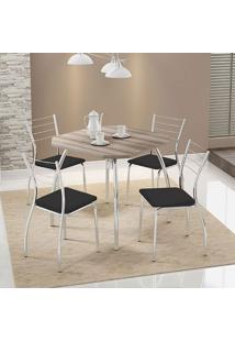 Mesa 1504 Nogueira Cromada Com 4 Cadeiras 1700 Preta Carraro