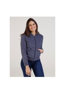 Jaqueta Bouclê Com Capuz Feminina Azul Marinho