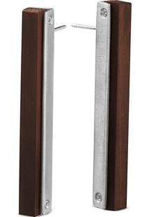 Brinco Wooden Design Geométrico Em Prata 925 - Madeira E Prata