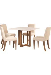 Conjunto De Mesa Para Sala De Jantar Com 4 Cadeiras Itália-Volttoni - Nogueira / Off White