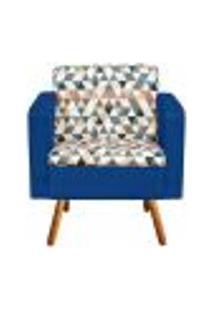 Poltrona Emília Estampado Triangulo D87 Com Suede Azul Royal Pés Palito Castanho D'Rossi