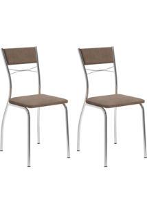 Conjunto Com 2 Cadeiras Andy Conhaque E Cromado