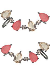 Brinco Infine Ear Cuff Com Piercing Coral Fusion E Cristal Morganita Ródio Negro - Tricae