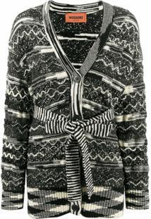 Missoni Cardigan Com Amarração Na Cintura E Padronagem - Preto