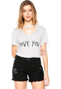 Camiseta Das Avessas Choker Estampada Off-White