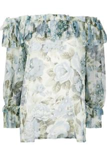 P.A.R.O.S.H. Off The Shoulder Floral Print Blouse - Azul