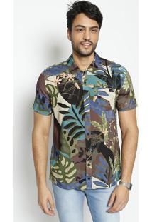 e7fbbdd3f Ir para a loja  -66% Camisa Shape Folhagens Com Bolso- Preta   Verde-  Coccoca-Cola