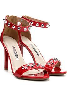 Sandália Com Tachas Via Marte Salto Fino Feminina - Feminino-Vermelho