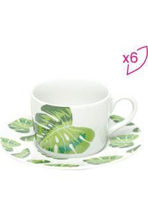 Jogo De Xícaras Para Chá Folhas- Branco & Verde- 6Pçbon Gourmet