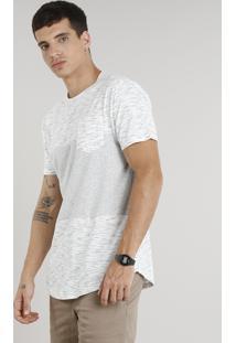 Camiseta Masculina Longa Com Recorte E Bolso Manga Curta Gola Careca Off White