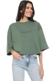 Camiseta Cropped Colcci Lettering Verde