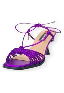 Sandalia Salto Taça Love Shoes Tirinhas Delicadas Amarração Metalizado Roxo