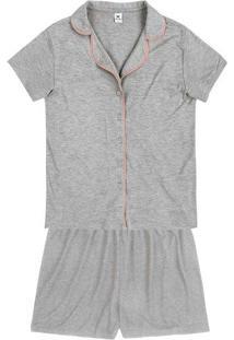 Pijama Curto Feminino Com Botão