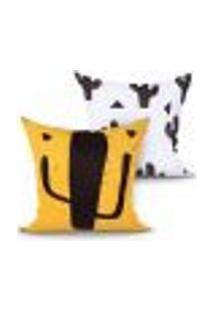 Jogo Capa Almofada Cacto Estampada Amarela E Branca Kit Com 2 Unidades 45Cm X 45Cm Com Zíper