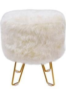 Puff Lara Dourado Pele Sintetica Branca 46 Cm (Alt) - 42130 - Sun House