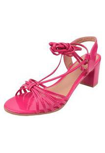 Sandália Salto Grosso Latikas Tiras Pink
