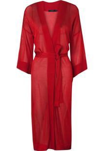 Kimono Rosa Chá Clara Red Beachwear Vermelho Feminino (Barbados Cherry, G)