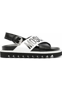 Moschino Sandália Com Tiras E Logo - Preto