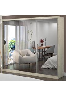 Guarda-Roupa Casal 3 Portas De Correr Com 3 Espelhos 100% Mdf 1902E3 Marfim Areia - Foscarini