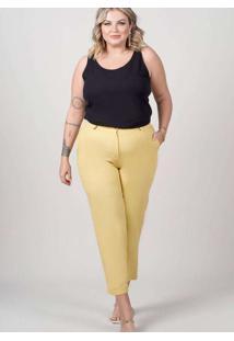 Calça Cropped Almaria Plus Size New Umbi Bolso Fac