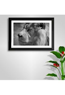 Quadro Oppen House 50X70Cm Leão Moldura Preta E Vidro Decorativo Salas Preto Branco